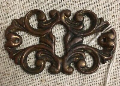 Antique Mid 1800's Fancy Bronze Victorian Key Hole Keyhole Cover Stamped #127