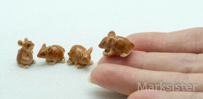 Figurine Animal Ceramic Statue Miniature Tiny 4 Brown Rat Mouse Mice - CCK144