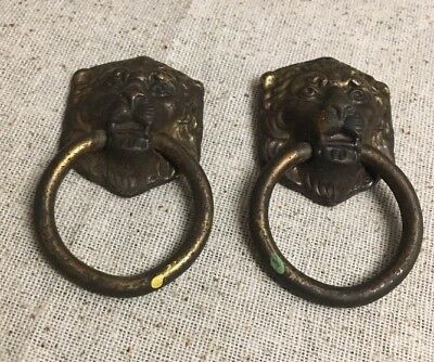 2 Antique Lion Head Cabinet Bail Ring Drawer Pulls Knobs / Pressed Steel RARE