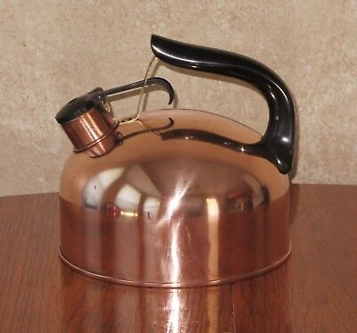 Vintage Revere Ware Solid Copper Tea Kettle MADE USA Rome, NY