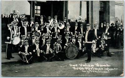 """Rock Springs, Wyoming Postcard """"Our Union Band"""" Post Office C.U. WILLIAMS 1912"""