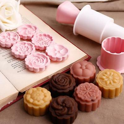 Flower Stamps Mooncake Moon Cake Mold Round Baking Mould Tool JJ