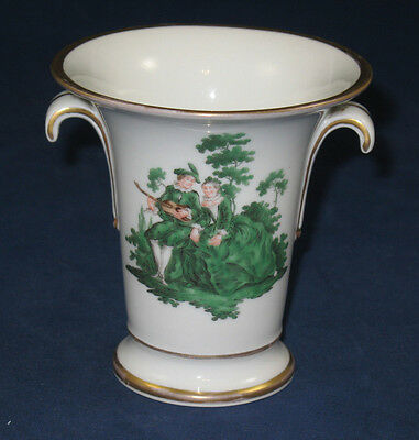 Wonderful KPM Berlin Vase with Green Watteau Couple and Floral Design