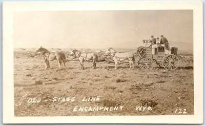 """ENCAMPMENT, Wyoming RPPC Real Photo Postcard """"OLD STAGE LINE"""" Stagecoach Unused"""
