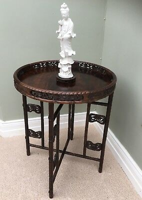 Stunning 19th C Chinese Rosewood Carved Campaign Table.Traditional Construction