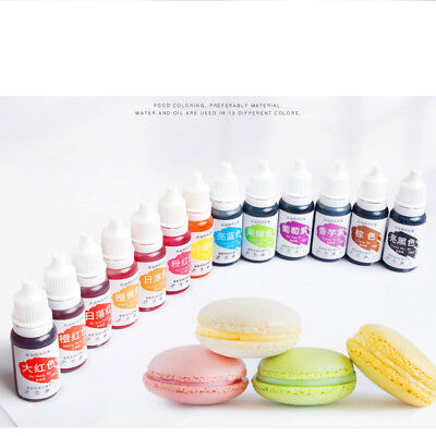 12Colors 10ML America Edible Cream Baking Pigment Food Coloring Fondant Cake New