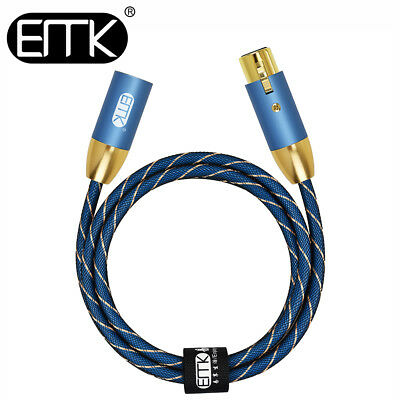 EMK Amplifier 3-Pin Audio XLR Balanced Lead Male to Female Cable Speaker 3ft 5ft