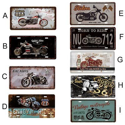 Vintage Metal Sign Tin Motorcycle Poster Plaque Club Home Bar Pub Wall Decor