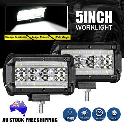 2x 5inch CREE LED Work Light Bar Spot Flood OffRoad Fog Driving 4WD 4x4 Reverse