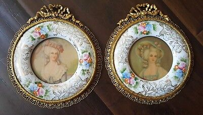 Pair Of Vintage French Ormolu Filigree Brass Enamel HandPainted Porcelain Frames