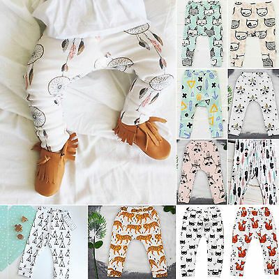 Newborn Kids Baby Boys Cute Cartoon Print Harem Pants Leggings Long Trousers