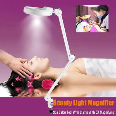 Desk 30LED Light Magnifier Makeup Nail Manicure 5x Magnifying With Clamp Spa M2