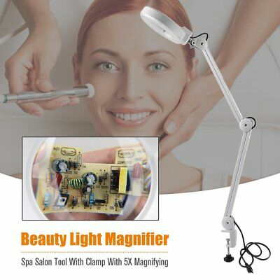 Desk 30LED Light Magnifier Makeup Nail Manicure 5x Magnifying W/ Clamp Spa Salon