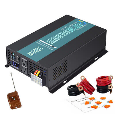 Power Inverter 3000W 24V DC to 120V AC Pure Sine Wave Inverter with a remote