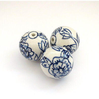 3Pcs Hand Painted Peony Porcelan Beads Finding For Jewelry Making--24mm