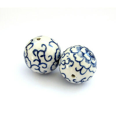2Pcs Hand Painted Peony Porcelan Beads Finding For Jewelry Making--29mm