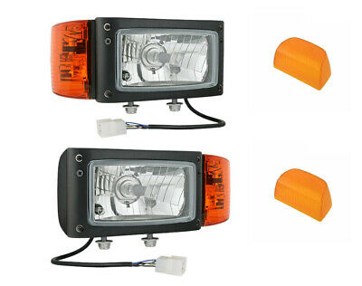 2x Headlight with Indicator Complete for Tractor Excavator Wheel Loader