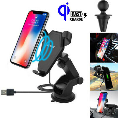 For iPhone X 8 Samsung S8 S9+ Note8 Qi Wireless Car Fast Charger Holder Mount