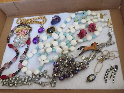 Vintage Jewelry Lot Necklaces Earrings Crystal Rhinestone Brooch & More (ab2335)
