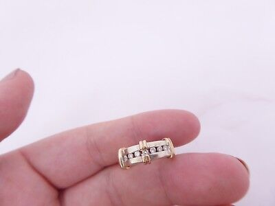 Fine 2 coloured 9ct gold 20 point diamond ring 9k 375