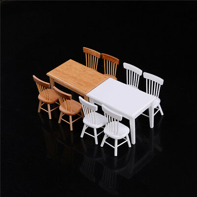 1:12 Wooden Kitchen Dining Table With 4 Chairs Set  Dollhouse Furniture XB