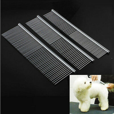 Pet Dog Cat Metal Double Row Teeth Brush Grooming Hair Comb Rake Universal Tools