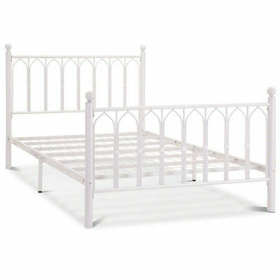 Madonna Gothic Style 5ft Kingsize White Metal Bed Frame
