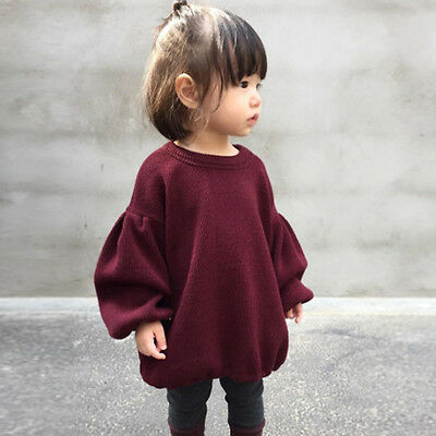 Toddler Kids Baby Girl Sweaters Blouse Puff Full Sleeve Pullover T Shirt Tops