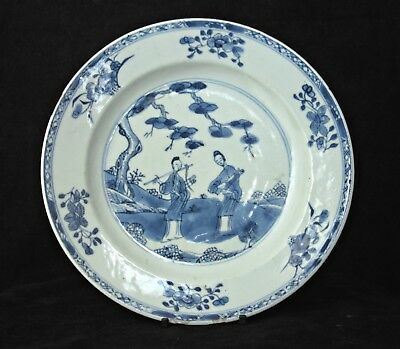 Antique Chinese Kangxi Blue & White Painted Plate Long Eliza In Landscape 18Th C