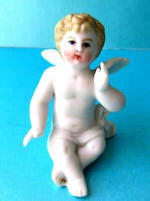 Antique Bisque China,cake Decoration Figure,seated Cherub,lovely Face.