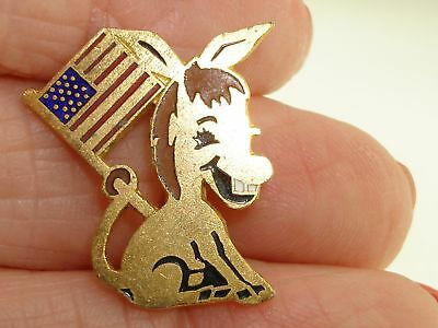 Unique Vintage Political Democratic Donkey With U.s.a. Flag Pin! Minty