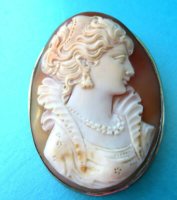 Vintage Huge Italy Silver  Super  Silver Mount,carved Shell Lady Cameo Brooch