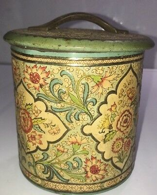 Vintage Tin Container Mosaic Raised Flowers Floral Pattern made in Holland Rare