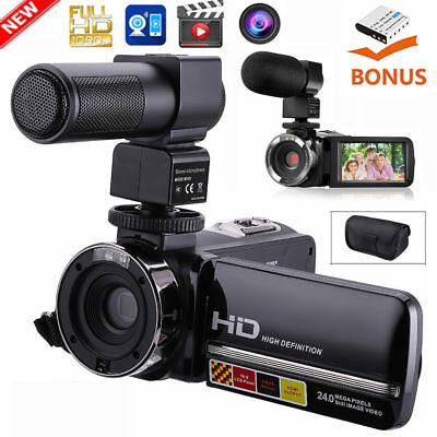 "FHD 1080P 24MP 3.0"" LCD 16X ZOOM Night Vision Digital Video DV Camera Camcorder"