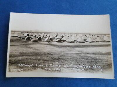 Antique Postcard Rppc Real Photo National Guard Camp Columbus N.m 1916 Bivouac