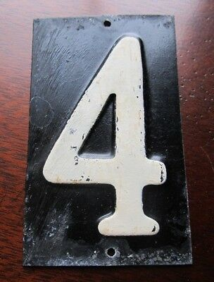 "Antique 1940s Vintage ENAMEL HOUSE NUMBER # 4 Mailbox CRAFTS 3 3/4"" x 2 1/8"""