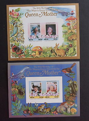 Nevis 1985 Queen Mother's 85th Birthday IMPERF MS concorde fungi bird MNH UM