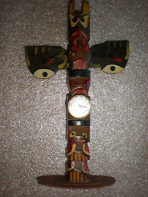 """Vintage Hand Carved Wooden Wood Hand Painted Totem Pole 8-1/4"""""""