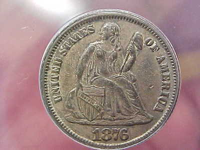 Sharp 1876 Cc Carson City Seated Liberty Dime Anacs Au53 Full Shield Hair Wreath