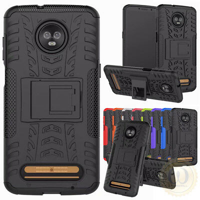 For Motorola Moto Z3 Case with Kickstand Hybrid Shockproof Rugged Armor Cover
