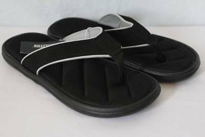 NEW Mens Sandals Medium 9 Black Flip Flops Memory Foam Summer Shoes Pool  Beach 1f4312529