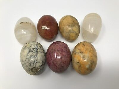 Lot Of 7 Vintage Decorative Marble Stone Alabaster Eggs Italy Mexico