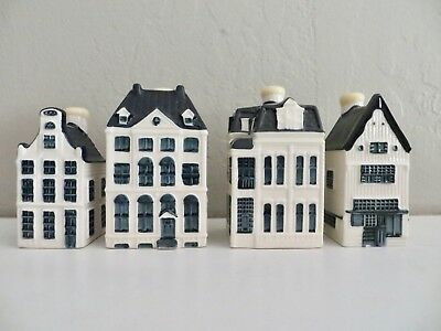 Lot of 4 Blue Delft Houses for KLM by BOLS Amsterdam / Sealed / 6, 19, 48, 91