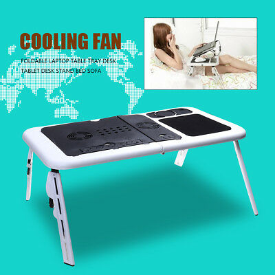 Foldable Laptop Table Tray Desk Tablet Desk Stand Bed Sofa Couch w/ Cooling Fan