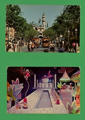 2 Disneyland Postcards - Main Street From United Airlines & Small World India