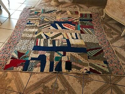 Antique Earley 1800 Crazy Quilt Embroidered & Hand Made Beauty Multi Color