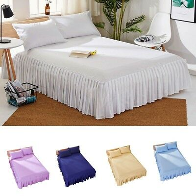 Bed Sheet Bedspread Skirt Elastic Home Hotel Plain Dyed Dust Ruffle Fitted Sheet