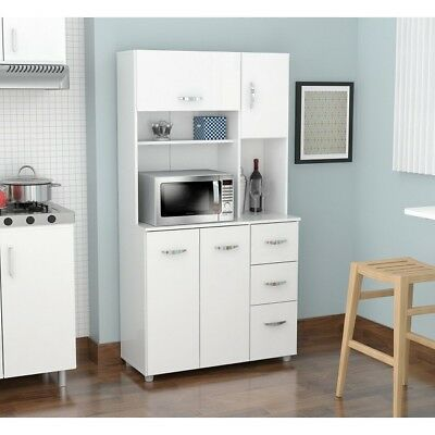 Dorm Kitchen Storage Microwave Stand Pantry Hutch Drawers Shelves 4 Door Cart Rv