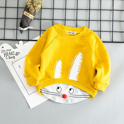 Toddler Baby Kids Boy Girls Cute Rabbit Long Sleeve T-shirt Tops Outfits Clothes