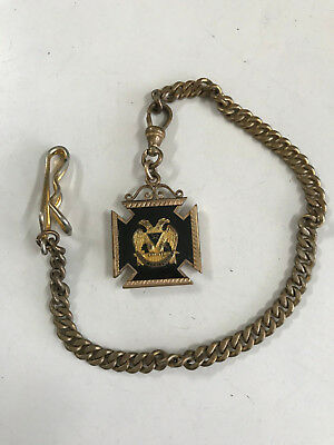 32Nd Degree Masonic Spes Mea In Deo Est Enamel Pendant Or Fob? Chain